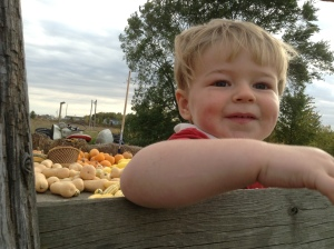 Nathan on the hay wagon
